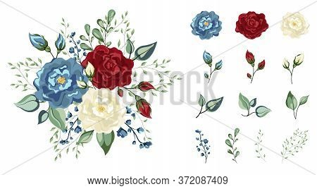Vector Floral Set. Colorful Red Blue And White Floral Collection With Leaves And Flowers, Watercolor