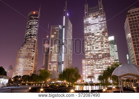 Lujiazui, Pudong, Shanghai, China, Asia - November 26, 2008: Skyline Of Office Buildings From Centra