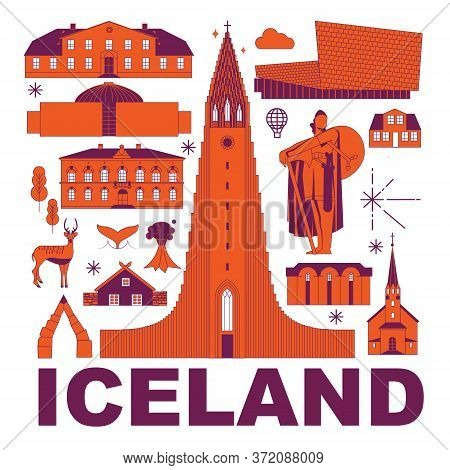 Iceland Culture Travel Set, Famous Architectures And Specialties In Flat Design. Business European T