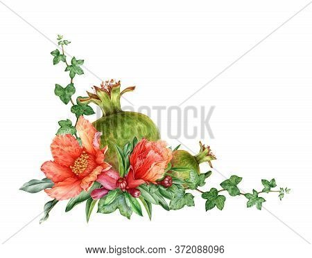 Watercolor Illustration Of A Composition With Pomegranate Fruit, Flowers And Green Leaves. Hand Draw