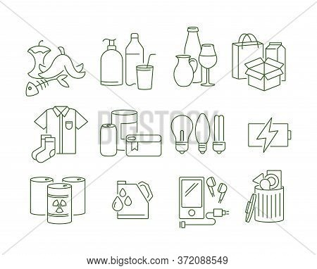 Vector Set Of Different Recycling Garbage Waste Types Sorting Processing Icons. Zero Waste Lifestyle
