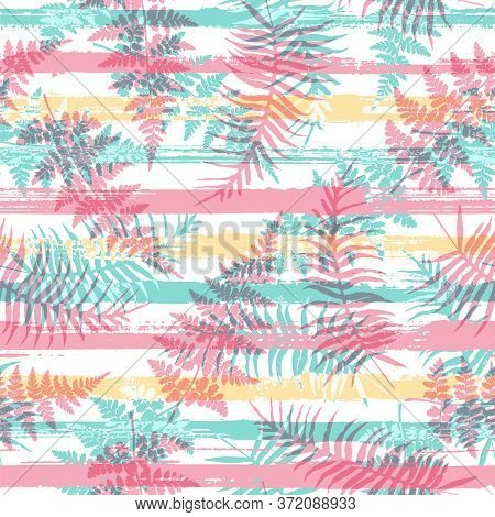 Exotic New Zealand Fern Frond And Bracken Grass Overlapping Stripes Vector Seamless Pattern. Brazili