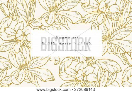 Vintage Card With Magnolia Flowers. Floral Wreath. Flower Frame For Flowershop With Label Designs. S