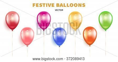Set Holiday Balloons. Festive Realistic Air Helium Balloon Design Element With Golden Ribbon And Bow