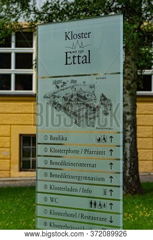 Ettal Abbey, Called Kloster Ettal, A Monastery In The Village Of Ettal, Bavaria - Ettal, Germany - M