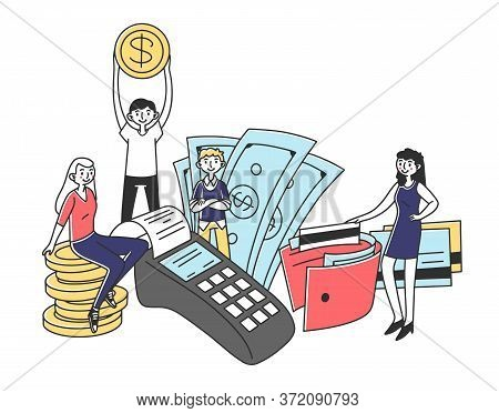 People Investing In Project With High Potential Illustration. Men And Women Issuing Credit In Bank.