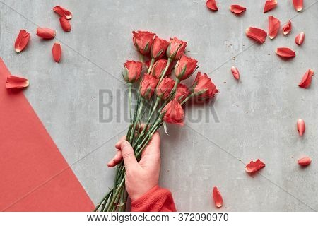 Diagonal Geometric Paper Background, Copy-space. Flat Lay, Female Hand Hold Red Roses, Scattered Pet