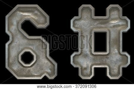 Set of symbols ampersand and hash made of industrial metal on black background 3d rendering