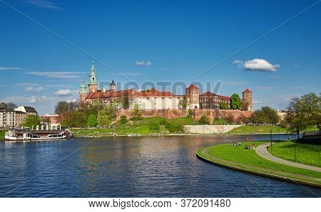 Royal Wawel Castle Cracow Springtime View Of Vistula River