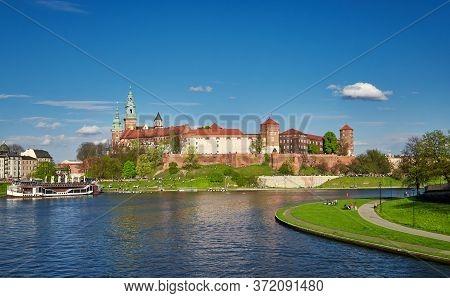 Royal Wawel Castle Cracow Springtime View Of Vistula River