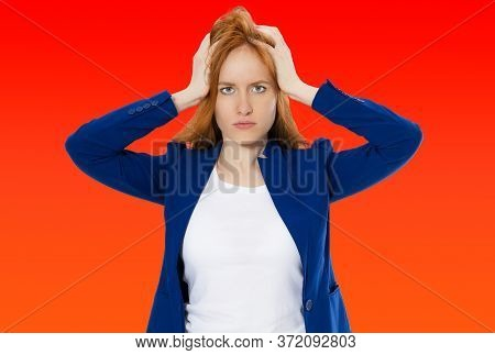 Woman Do Face Palm, Girl Make Facepalm, Female Migraine, Head Pain, Bad Feeling, Tired Woman - Red B