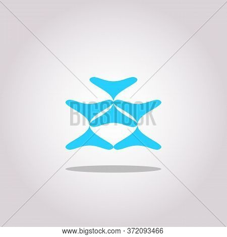 Blue Fluid Blob For Card Background. Azure Liquid Stain In Dynamic Color. Free Geometrical Shape For