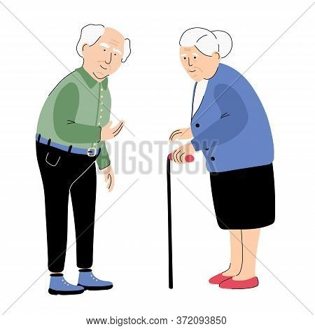 An Elderly Senior Man And Woman Isolated On White Background. Full Length Portraits. Grandpa And  Gr
