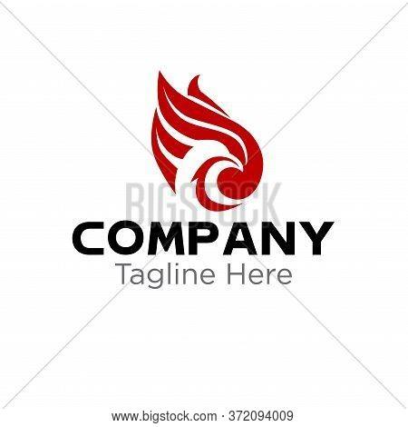 Abstract Phoenix Logo. Business Card Template. Modern Heraldic Design Concept.