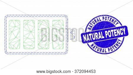 Web Carcass Electric Battery Pictogram And Natural Potency Seal. Blue Vector Round Textured Seal Sta