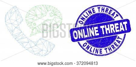 Web Mesh Phone Service Message Icon And Online Threat Seal. Blue Vector Rounded Textured Seal Stamp