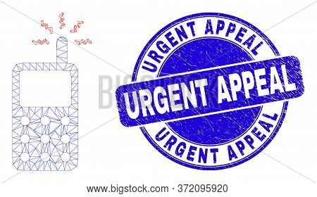Web Mesh Cell Phone Icon And Urgent Appeal Seal Stamp. Blue Vector Round Distress Seal Stamp With Ur