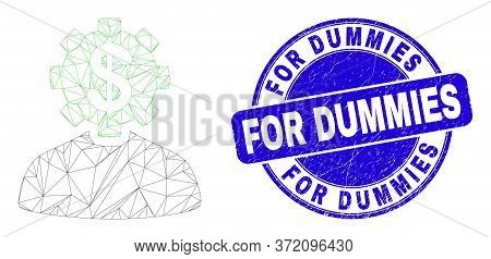 Web Mesh Banker Gear Person Icon And For Dummies Seal Stamp. Blue Vector Rounded Grunge Seal With Fo