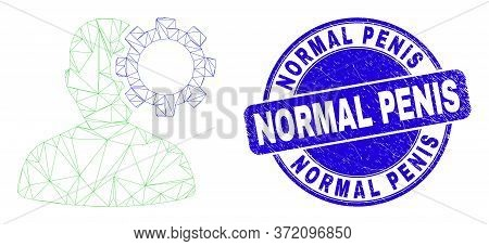 Web Mesh User Options Gear Pictogram And Normal Penis Stamp. Blue Vector Round Grunge Seal Stamp Wit