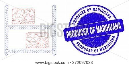 Web Carcass Medical Goods Pictogram And Producer Of Marihuana Watermark. Blue Vector Rounded Texture
