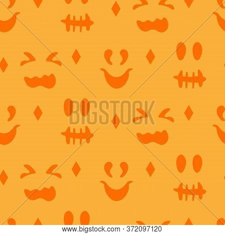 Silhouettes Faces Pumpkins Or Ghost Halloween Seamless Pattern. Different Creepy Fun Cute Emotion Fa