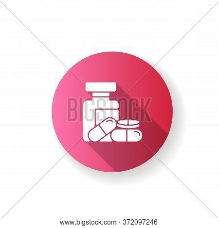 Pharmacy Flat Design Long Shadow Glyph Icon. Pills In Bottles. Medications Prescription. Pharmacolog