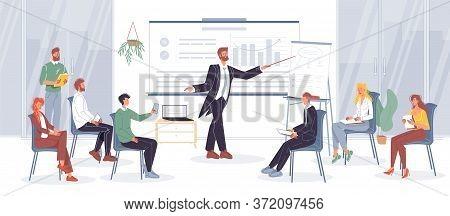 Business Training, Coaching Course. Startup Presentation. Businessman Coach Teaching Employee Listen