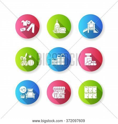 Shopping Mall Products Flat Design Long Shadow Glyph Icons Set. Outlet Store. Gift Shop. Entertainme