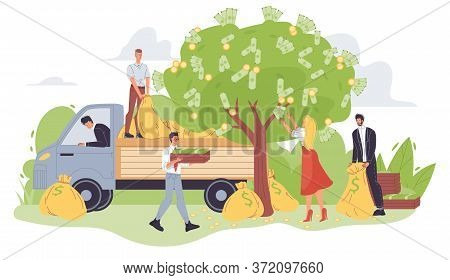 Harvesting Businesspeople Picking Money Gold Coin Cash Banknote From Green Tree. Financial Growth, P