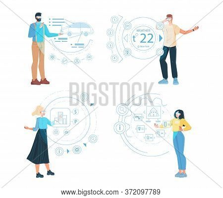 People Wearing Smart Glasses Wearable Device Set. Man Woman In Digital Intelligence Eyewear Accessor