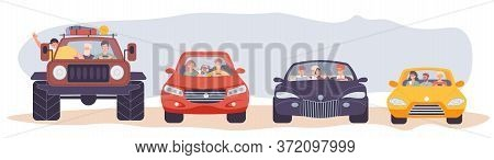 Carsharing Carpooling Collaborative Consumption. Happy People Passenger Driver Riding Different Car