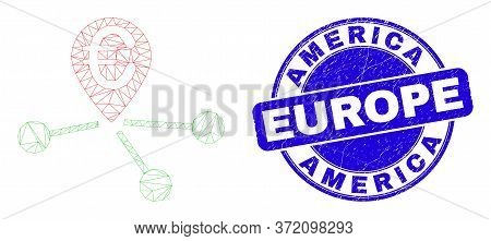 Web Mesh Euro Location Links Icon And America Europe Seal Stamp. Blue Vector Rounded Scratched Seal