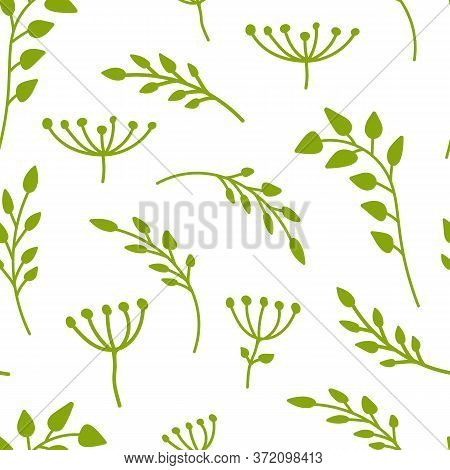 Green Branch With Leaves Seamless Pattern. Limitless Background With Floral Flat Cartoon Elements, S