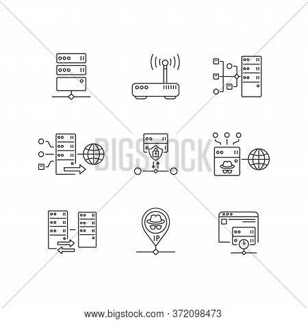 Virtual Proxy Servers Linear Icons Set. Vpn Services Customizable Thin Line Contour Symbols. Interne