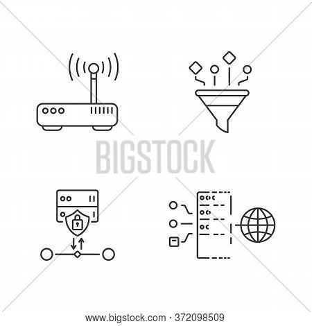 Cybersecurity Linear Icons Set. Gateway, Content Filtering, Ssl Encryption And Transparent Proxy Cus