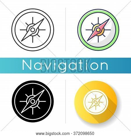 Compass Icon. Marine And Land Navigation, Direction Guide Tool. Linear Black And Rgb Color Styles. T