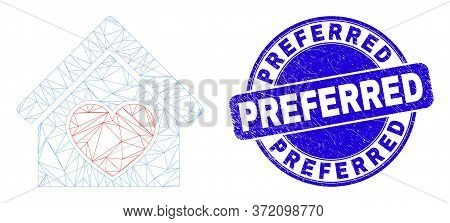 Web Carcass Love House Pictogram And Preferred Seal Stamp. Blue Vector Rounded Distress Seal Stamp W