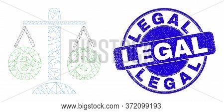 Web Mesh Compare Euro Dollar Pictogram And Legal Stamp. Blue Vector Round Distress Stamp With Legal