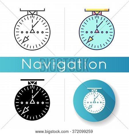 Aeronautical Navigational Radar Icon. Modern Navigation Technology For Aircrafts.. Linear Black And