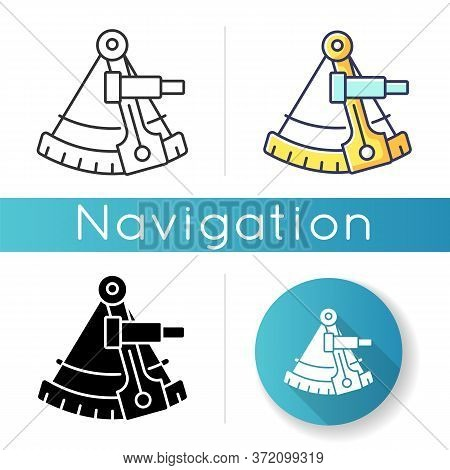 Sextant Icon. Celestial Navigation, Geography. Linear Black And Rgb Color Styles. Old Fashioned Inst
