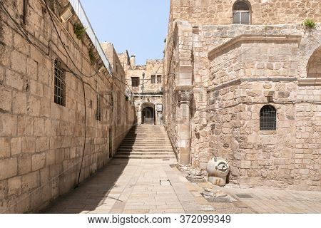 Jerusalem, Israel, June 13, 2020 : St. Helena Street Leading From The Church Of The Holy Sepulchre T