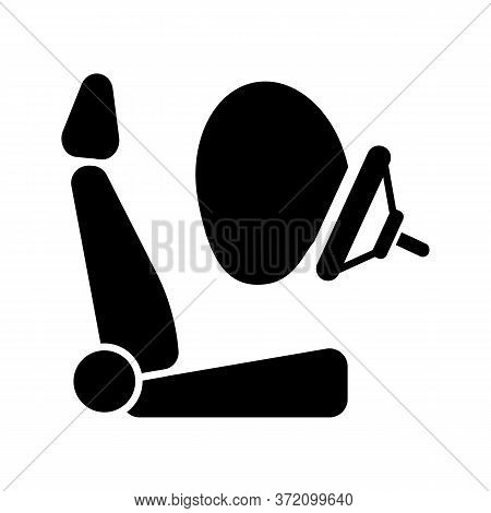 Airbag Black Glyph Icon. Accident Protection, Safety Precaution Silhouette Symbol On White Space. Li