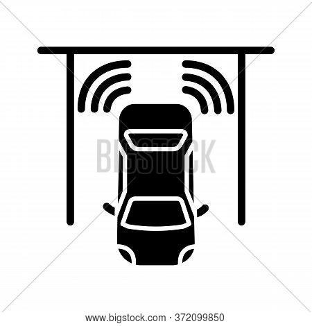 Parking Sensors Black Glyph Icon. Smart Driver Assistance, Automotive Technology, Driving Safety Sil