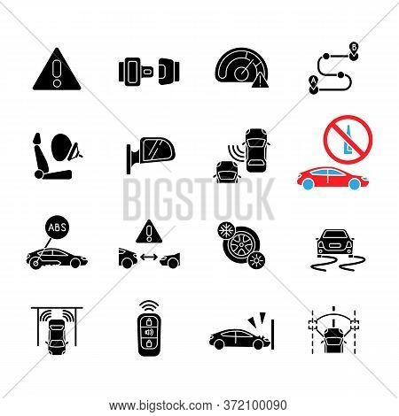 Driving Safety Black Glyph Icons Set On White Space. Car Accident Prevention, Traffic Rules And Regu