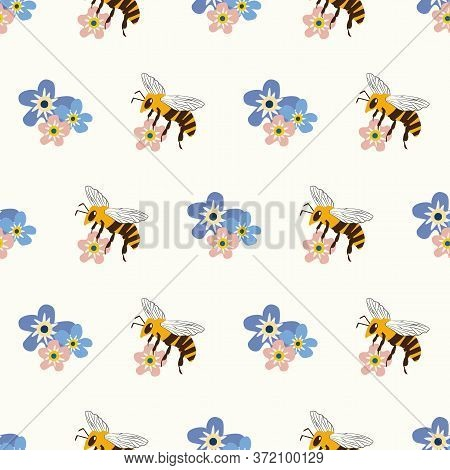 Honey Bee And Forget-me-not Flower Vector Seamless Pattern Background. Flying Insect And Pretty Blue