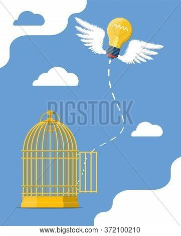 Fresh Bulb Idea Flying From Bird Cage. Thinking Different And Freedom Concept. Creative Idea Or Insp