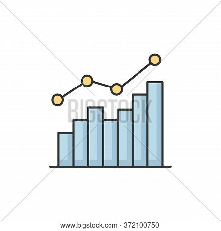 Growing Statistic Rgb Color Icon. Increasing Business Chart. Financial Graph. Infographic For Market