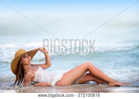 Summer Beautiful Girl. Hot Summer Day. Summer Beautiful Girl. Beautiful Redhead At The Sea. Summer T