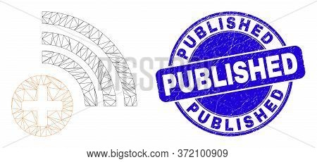 Web Carcass Medical Source Pictogram And Published Stamp. Blue Vector Round Grunge Seal Stamp With P