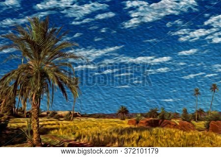 Agricultural Fields And Palm Trees In A Hilly Landscape Near Ouarzazate. Mainly Inhabited By Berber